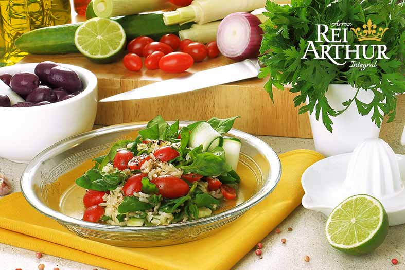 Receita Salada de arroz integral com espinafre