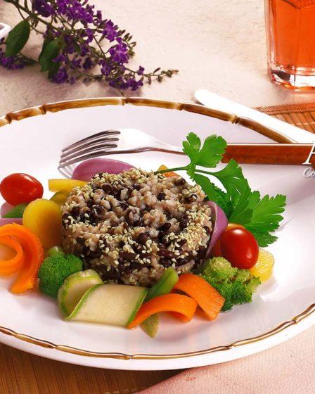 Receita Azuki com arroz e gergelim