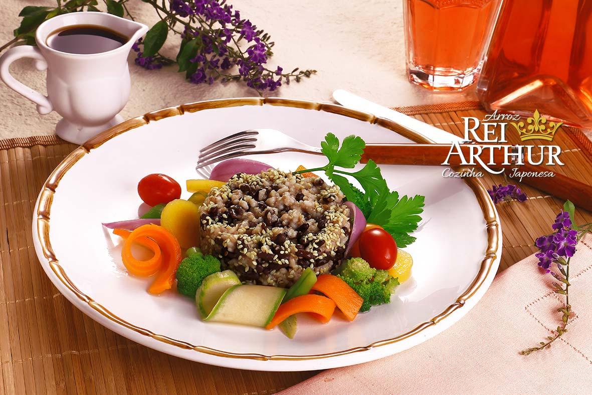 Receita de Azuki com arroz e gergelim
