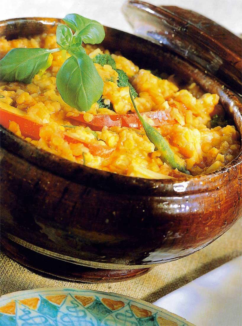 Caçarola de lentilha e arroz