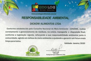 Certificado Responsabilidade Social Dickow Alimentos