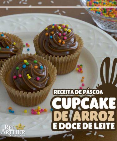Receita de páscoa cupcake de arroz e doce de leite