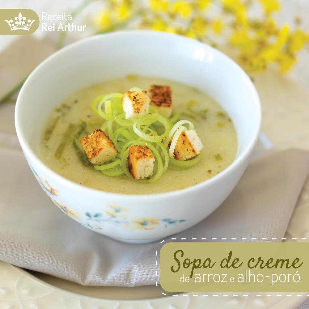 Receita Sopa de creme de arroz e alho-poró