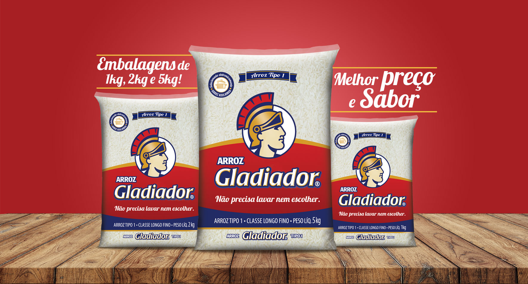 Arroz Gladiador: Melhor preço e sabor, disponível em embalagens de 1kg, 2kg e 5kg!